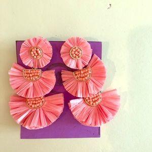 Beautiful coral raffia earrings